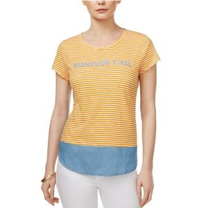 NWT Maison Jules Bonjour Y'all Striped Graphic Tee